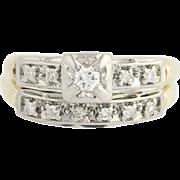 Vintage Diamond Engagement Ring & Wedding Band - 14k Gold Round Brilliant .20ctw