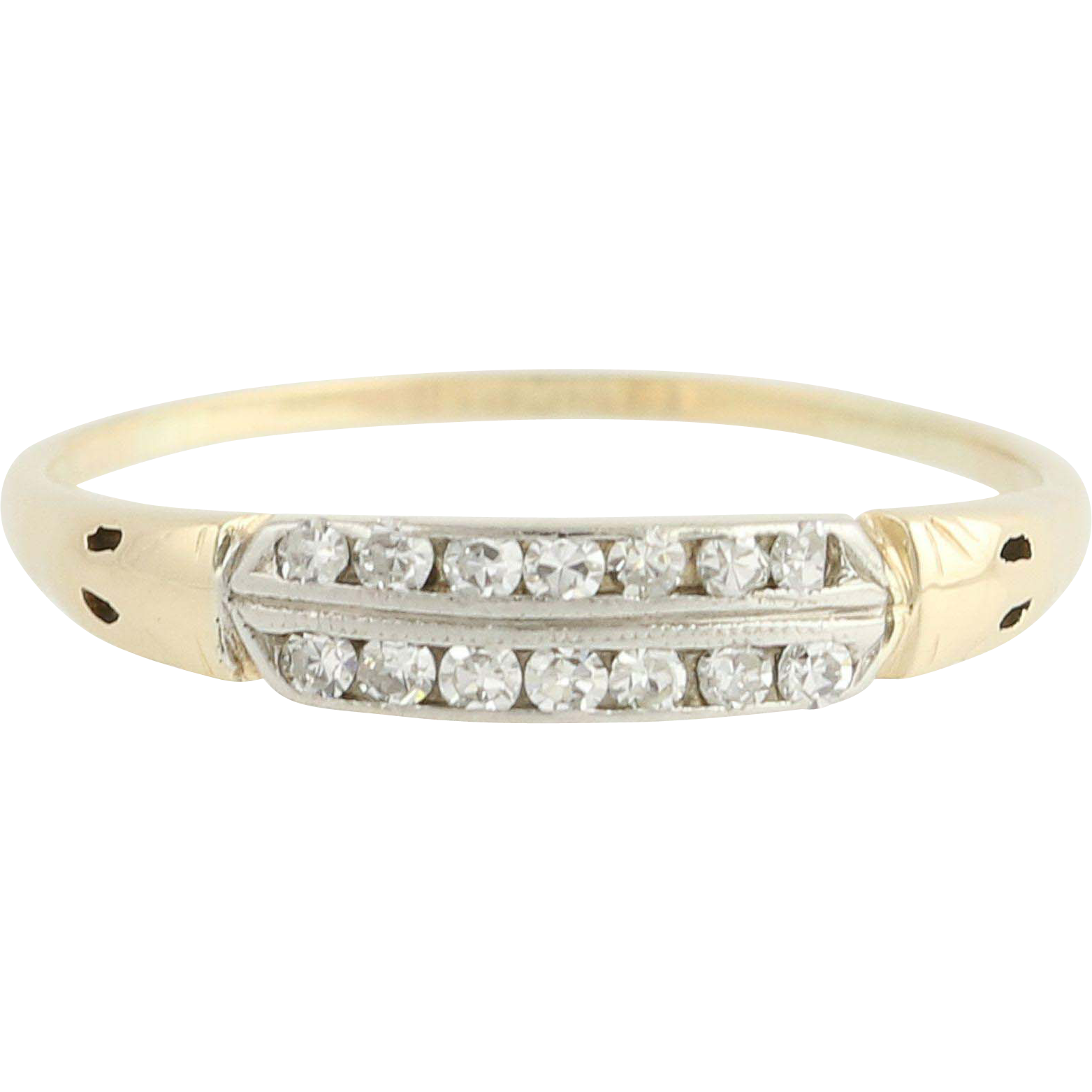 Art Deco Diamond Wedding Band - 14k Yellow & White Gold Vintage .12ctw