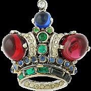 Vintage Trifari Crown Brooch - Sterling Silver Rhinestones & Glass Pin