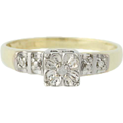 Vintage Diamond Engagement Ring - 10k Yellow & White Gold Round Brilliant .03ctw