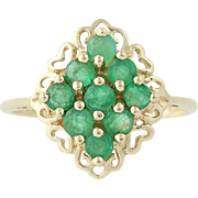 Emerald Cluster Ring - 10k Yellow Gold May Birthstone .81ctw