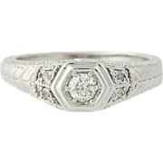 Diamond Engagement Ring - 14k White Gold Round Cut .25ctw