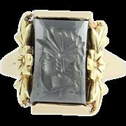 Vintage Carved Hematite Intaglio Ring - 10k Gold Women's