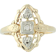 Art Deco Diamond Ring - 14k Yellow & White Gold Vintage .02ct
