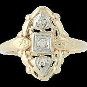Art Deco Diamond Ring - 14k Yellow & White Gold Vintage .02ct