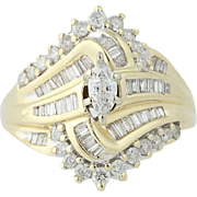 Diamond Ring - 14k Yellow & White Gold Bypass Marquise Cut 1.00ctw