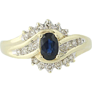 Sapphire & Diamond Bypass Ring - 10k Yellow & White Gold September .86ctw