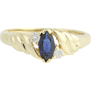 Sapphire & Diamond Ring - 10k Yellow Gold September Birthstone .30ctw