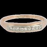 Vintage Diamond Wedding Band - 14k Rose & White Gold Ring Milgrain .14ctw