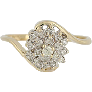 Diamond Cluster Bypass Ring - 14k Yellow Gold 6 3/4 Round Brilliant .25ctw