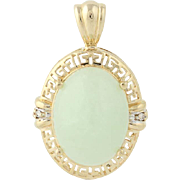 Jadeite & Diamond Pendant - 14k Yellow Gold .01ctw