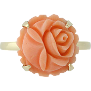 Carved Coral Ring - 14k Yellow Gold Flower Blossom Design Women's 6 1/2