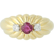 Ruby & Diamond Ring - 18k Yellow Gold July Birthstone .62ctw