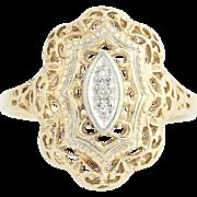 Diamond Ring - 10k Yellow & White Gold Filigree Single Cut .02ctw