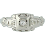 Art Deco Diamond Ring - 14k Gold Vintage Engagement Mine Cut .06ctw