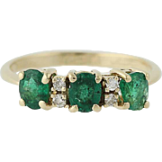 Emerald & Diamond Ring - 14k Yellow Gold May Birthstone 1.28ctw
