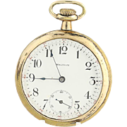 Waltham Pocket Watch Antique 1900 Runs 16s 7j Open Face 610 Pendant Gold Filled