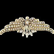 Edwardian Seed Pearl & Diamond Pendant - 14k Gold Vintage Angel Wings .16ctw