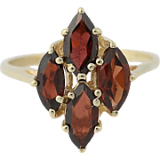 Garnet Ring - 14k Yellow Gold Marquise Brilliant Cut 2.30ctw
