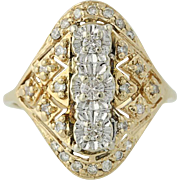 Diamond Ring - 14k Yellow & White Gold Round Cut .40ctw