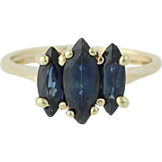 Three-Stone Sapphire Ring - 10k Yellow Gold September 2.28ctw