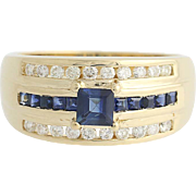 Sapphire & Diamond Ring - 14k Yellow Gold September 1.10ctw