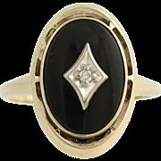 Vintage Onyx & Diamond Ring - 10k Yellow & White Gold .02ct