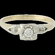 Vintage Diamond Engagement Ring - 14k Yellow & White Gold Round Brilliant .13ctw