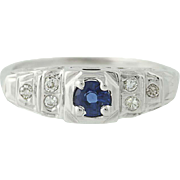 Art Deco Sapphire & Diamond Engagement Ring - 18k Gold Vintage .44ctw