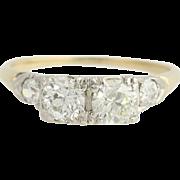 Art Deco Diamond Engagement Ring - 14k Yellow & White Gold European Cut 1.06ctw