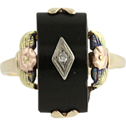 Vintage Onyx & Diamond Ring - 10k Yellow, White, Rose, & Green Gold Floral