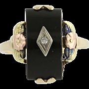 Vintage Onyx & Diamond Ring - 10k Yellow, White, Rose, & Green Gold Floral