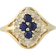 Sapphire & Diamond Ring - 14k Yellow Gold September Halo .99ctw