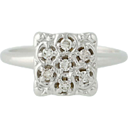 Vintage Diamond Ring - 10k White Gold Women's Single Cut .20ctw