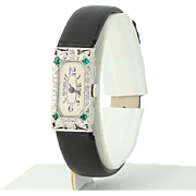 Art Deco Diamond & Syn. Emerald Watch- 18k Gold Quartz Conversion Women's .35ctw