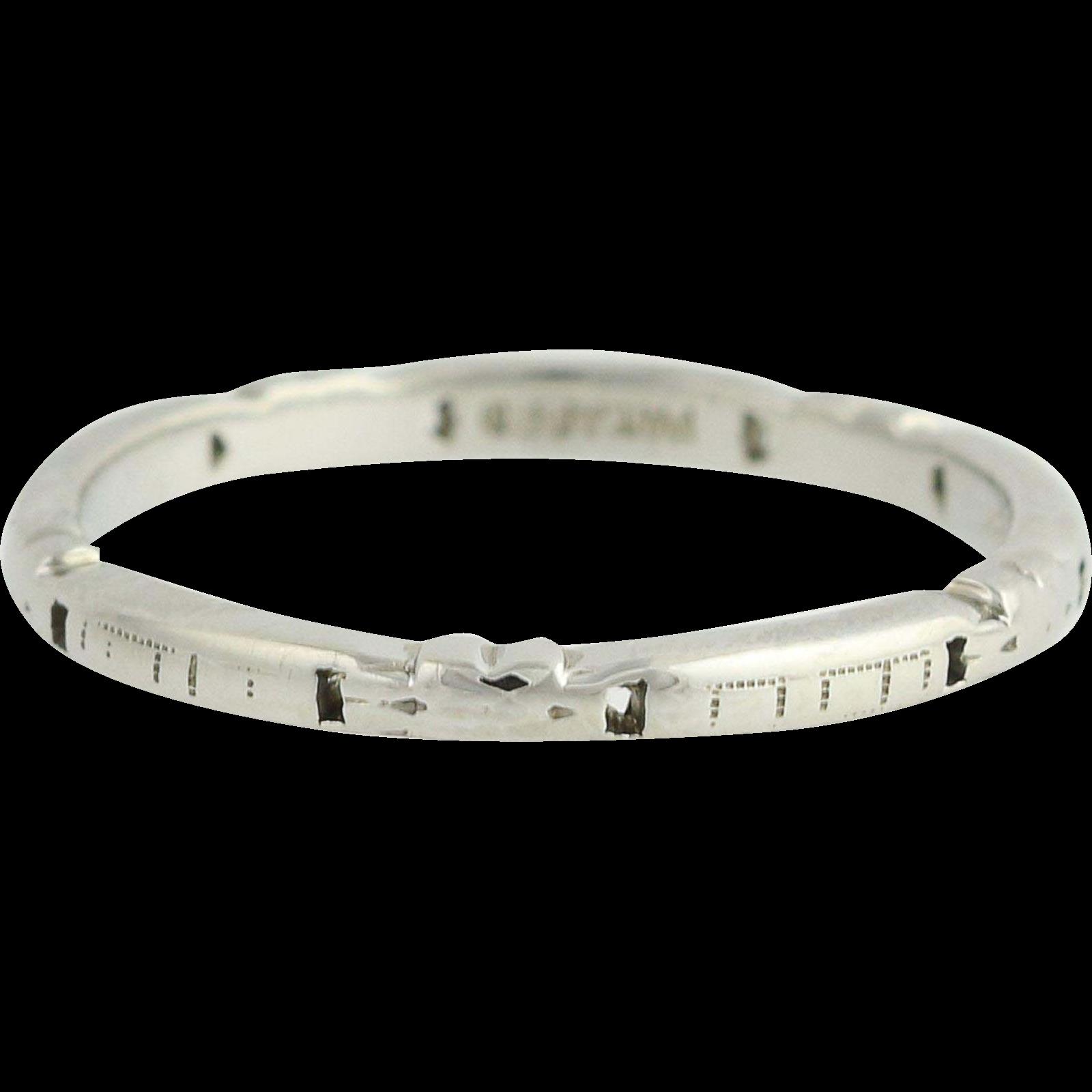 Art Deco Band Ring - 18k White Gold Vintage Pattern Women's Size 5