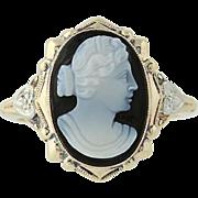 Art Deco Banded Agate Carved Hardstone Cameo Ring - 14k Gold Vintage