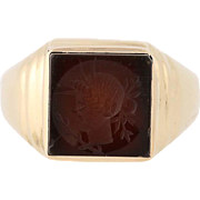 Men's Dark Red Carnelian Intaglio Ring - 10k Yellow Gold Silhouette Size 11