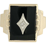 Onyx Ring - 10k Yellow & White Gold Diamond Accent Men's .01ct