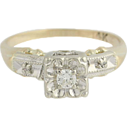 Vintage Diamond Engagement Ring - 14k Yellow & White Gold Round Cut .07ct