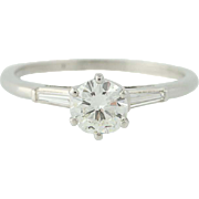 Diamond Engagement Ring - Platinum Round Cut & Baguette Cut .88ctw