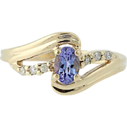 Tanzanite & Diamond Bypass Ring - 14k Yellow Gold December .54ctw