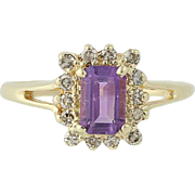 Amethyst & Diamond Ring - 14k Yellow Gold February Halo .55ctw