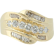 Diamond Bypass Ring - 14k Yellow Gold Round Cut 1.00ctw