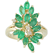 Emerald & Diamond Cluster Cocktail Ring - 14k Yellow Gold May 1.78ctw