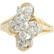 Diamond Cluster Ring - 14k Yellow & White Gold Tiered .33ctw