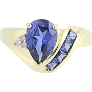 Synthetic Sapphire & Diamond Ring - 10k Yellow Gold Pear Cut 2.13ctw
