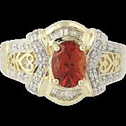 Andesine & Diamond Ring - 10k Yellow & White Gold Women's 1.09ctw