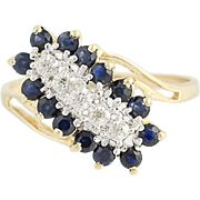 Sapphire & Diamond Cluster Bypass Ring - 10k Yellow & White Gold .82ctw