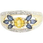 Yellow & Blue Sapphire & Diamond Ring - 10k Yellow & White Gold 1.05ctw